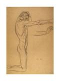 Kneeling Male Nude Giclee Print by Gustav Klimt