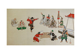 Foreigners Playing Sumo Giclee Print by Kyosai Kawanabe