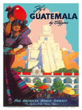 Guatemala by Clipper - Pan American World Airways - Tikal Mayan Kunstdrucke