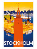 Stockholm - Sweden - Port of Stockholm and City Hall Giclee Print by Iwar Donner