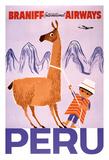 Peru - Braniff International Airways - Native Boy with Llama Giclée-tryk