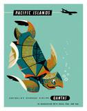 Pacific Islands - Qantas Airways - Green Sea Turtle Giclee-vedos tekijänä Harry Rogers