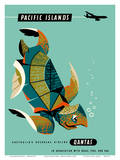 Pacific Islands - Qantas Airways - Green Sea Turtle Posters by Harry Rogers
