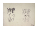 The Three Gorgons Sketches Giclee Print by Gustav Klimt