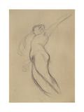 Floating Female Figure in Profile Giclee Print by Gustav Klimt