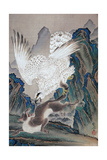 A Wolf Attacked by White Eagle Giclee Print by Kyosai Kawanabe