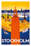 Stockholm - Sweden - Port of Stockholm and City Hall Poster af Iwar Donner