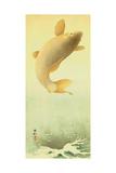 Leaping Carp Giclee Print by Koson Ohara