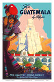 Guatemala by Clipper - Pan American World Airways - Tikal Mayan Plakaty