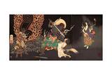 Fudô Threatening Yuten with His Sword Giclee Print by Yoshitoshi Tsukioka