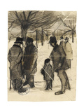 Five Men and a Child in the Snow Giclee Print by Vincent van Gogh