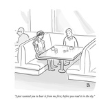 """I just wanted you to hear it from me first, before you read it in the sky - New Yorker Cartoon Premium Giclee Print by Paul Noth"