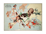 Satirical Map - European Revue - Kill That Eagle Giclee Print