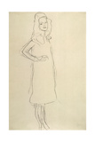 Standing Girl in Coat with Hand on Hip Giclee Print by Gustav Klimt
