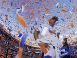NFL Playoffs 2014: Jan 19, 2014 - Broncos vs Patriots - Peyton Manning Photographic Print by Charlie Riedel