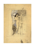Preliminary Drawing for Allegory of Sculpture Giclee Print by Gustav Klimt