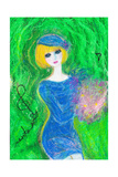The Woman of the Bouquet Which Wore a Blue Dress Giclee Print by Mariko Miyake
