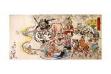 Kyosai Hyakukyo, Doke Hyakumamben, Triptych, 1864 Giclee Print by Kyosai Kawanabe