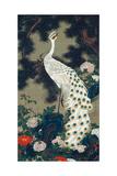 A Peacock, Pine and Peony Giclée-tryk af Jakuchu Ito