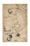 Jumping Carp Sumi Underdrawing on Paper Reproduction procédé giclée par Yoshitoshi Tsukioka