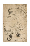 Jumping Carp Sumi Underdrawing on Paper Giclee Print by Yoshitoshi Tsukioka