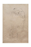 Kneeling Man and Seated Woman Embracing Giclee Print by Gustav Klimt
