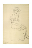 Seated Girl Seen from the Side Giclee Print by Gustav Klimt