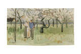 Orchard in Blossom with Two Figures: Spring Giclee Print by Vincent van Gogh