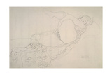 Reclining Nude with Leg Raised Giclee Print by Gustav Klimt