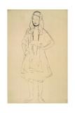 Girl Standing with Her Hands Resting on Her Hip Giclee Print by Gustav Klimt