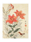 Sparrow and Tiger Lilies Giclee Print by Bairei Kono