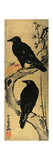 Two Crows on a Plum Branch with Rising Sun Impression giclée par Kyosai Kawanabe
