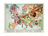 Satirical Map - Hark! Hark! the Dogs Do Bark! 1914 Giclee Print by Walter Emanuel