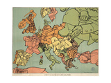 Satirical Map - The Insane Asylum Giclee Print by Louis Raemaekers