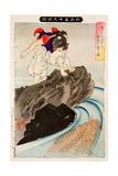 Oniwaka Observing the Great Carp in the Pond, Thirty-Six Transformations Giclee Print by Yoshitoshi Tsukioka