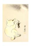 Gato y ratón Lámina giclée por Kyosai Kawanabe