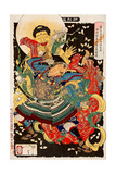 Toki Motosada, Hurling a Demon King, Thirty-Six Transformations Giclee Print by Yoshitoshi Tsukioka