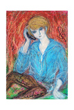 The Blond Young Man of Blue Parker Wearing a Obile Telephone Giclee Print by Mariko Miyake