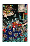 Tawara Tôda Hidesato and the Dragon Woman of Seta, from One Hundred Ghost Stories Giclee Print by Yoshitoshi Tsukioka