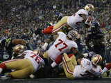 NFL Playoffs 2014: Jan 19, 2014 - 49ers vs Seahawks - Anthony Dixon Poster av Matt Slocum