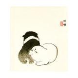 Hundehvalpe Giclée-tryk af Bairei Kono