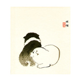 Puppies Giclee Print by Bairei Kono