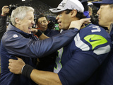 NFL Playoffs 2014: Jan 19, 2014 - 49ers vs Seahawks - Pete Carroll, Russell Wilson Prints by Ted S. Warren
