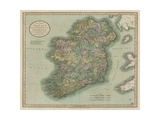 Vintage Map of Ireland Posters af John Cary