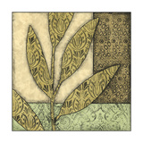 Small Green Leaves and Patterns I Print by Megan Meagher