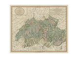 Vintage Map of Switzerland Prints by John Cary