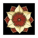 Small Floral Mandala on Red II Premium Giclee Print by Erica J. Vess