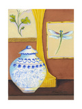 Dragonfly with Blue Porcelain Premium Giclee Print