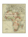 Small Antique Map of Africa Premium Giclee Print by Alvin Johnson