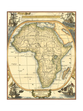 Small Nautical Map of Africa Art by  Vision Studio